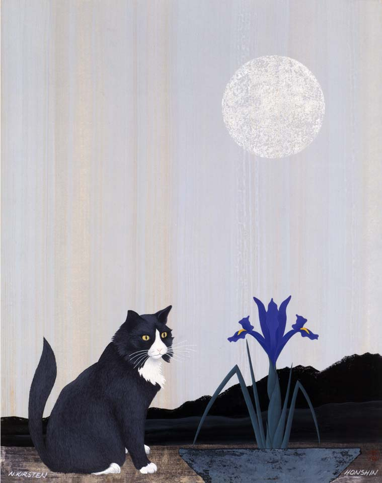 2001 Zen Cat Meditates on Essence of Iris Essence of Moon